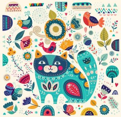 Fototapete Vector bunte Illustration mit schönen Katze, Schmetterlinge, Vögel und Blumen