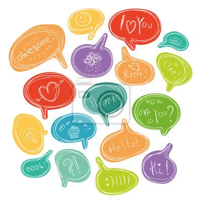 Vector bunte Satz von Sprechblasen mit kurzen Phrasen und kleinen Bildern.