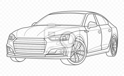 Fototapete Vector car and automobile on transparent background. Hand drawn sketch american transport.