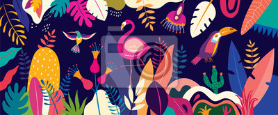 Fototapete Vector colorful illustration with tropical flowers, leaves, flamingo and birds. Brazil tropical pattern.