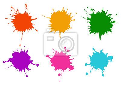 Fototapete Vector Colorful paint splatters.Paint splashes set.Vector illustration design.