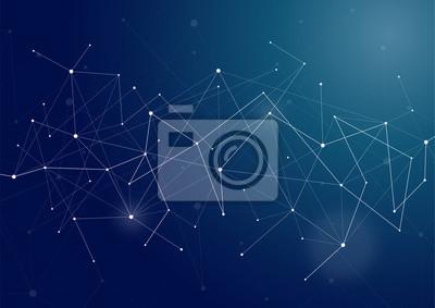 Fototapete Vector Connecting Dot Line Netzwerk Hintergrund