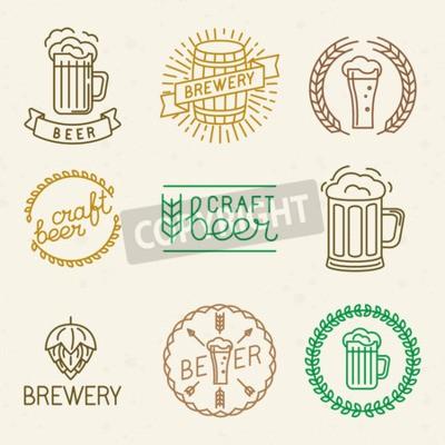 Fototapete Vector Craft Bier und Brauerei Logos und Zeichen in trendigen linearen Stil - Mono Line-Abzeichen und Embleme mit Text und Beschriftung für Bier Häuser, Kneipen und Brauereien
