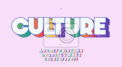 Fototapete Vector culture font 3d bold color style trendy typography
