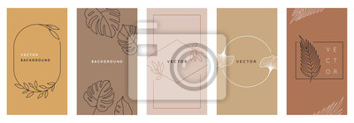 Fototapete Vector design templates in simple modern style with copy space for text, flowers and leaves