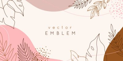 Fototapete Vector design templates in simple modern style with copy space for text, flowers and leaves - wedding invitation backgrounds and frames, social media stories wallpapers