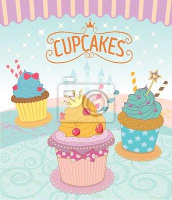 Vector Die Kleinen Kuchen In Prinzessin Theme Concept Colorful
