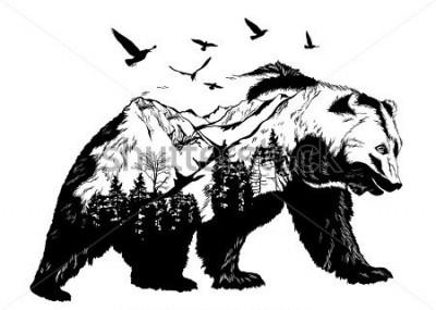 Fototapete Vector Double exposure, bear for your design, wildlife concept