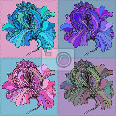 Vector-Druck von vier grafische Blumen mit verschiedenen Farben