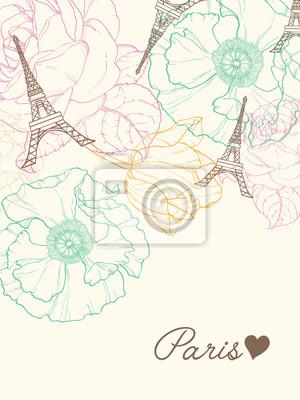Karte Paris Eiffelturm.Fototapete Vector Eiffelturm Paris Gruss Karte In Der Vintage Art Mit Schonen