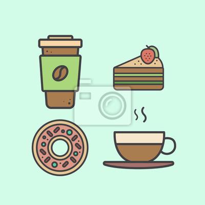 Vector Einfache Icon Style Illustration Mit Desserts Und Heissen