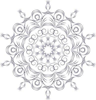 Fototapete Vector einfarbige Kontur Mandala
