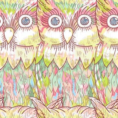 Fototapete Vector Eule nahtlose Muster. Zusammenfassung niedlichen Vogel Hintergrund.