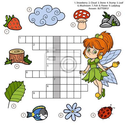Vector farbe kreuzworträtsel-, bildungs-spiel für kinder über ...