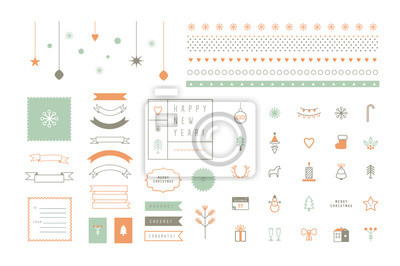 Vector flache Symbole und Dekor-Elemente. Fröhliche Weihnachten