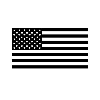 Fototapete Vector flat black the USA American flag isolated on white background