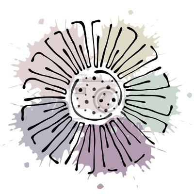 Fototapete Vector floral Abbildung. Korb mit Blumen, Blätter, dekorative Elemente auf dem weißen Hintergrund isoliert. Handgezeichnete Konturlinien und Striche. Gekritzelart, grafische vektorabbildung
