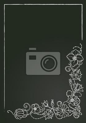 Vector floral-Karte, Kreide Blumen und Blätter.