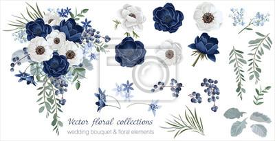 Fototapete Vector floral set with leaves and flowers. Elements for your compositions, greeting cards or wedding invitations. Anemones