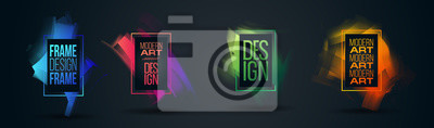 Fototapete Vector frame Art graphics for hipsters . dynamic frame stylish geometric black
