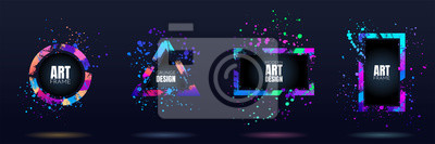 Fototapete Vector frame for text. Modern Art graphics. Dynamic frame stylish geometric black background. Element for design business cards, invitations, gift cards, flyers and brochures. Distruction color paint
