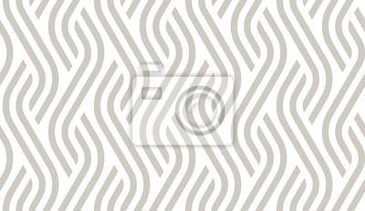 Fototapete Vector geometric diagonal fabric waves seamless texture. Cream colour background.