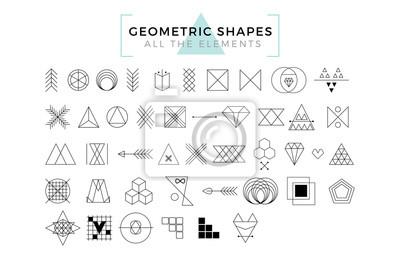 Fototapete Vector Geometrische Formen, Trendy Retro Formen und Logotypen, Polygonal Line Art