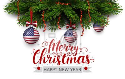 Frohe Weihnachten Band.Fototapete Vector Grenze Der Weihnachtsbaumaste Mit Rotem Band Und Bälle
