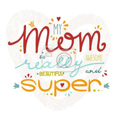 Vector Grußkarte für Muttertag mit Hand gezeichneten Schriftzug.
