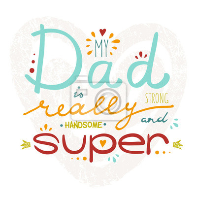 Vector Grußkarte für Vatertag mit Hand gezeichneten Schriftzug.