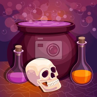 Vector Halloween Hintergrund mit Hexe Kessel Kochen der Trank und Schädel