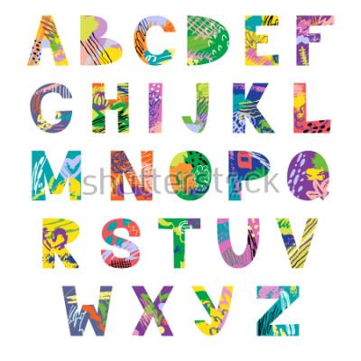 Fototapete Vector hand drawn latin artistic alphabet. Doodle fancy abc. Colorful fanky creative font.