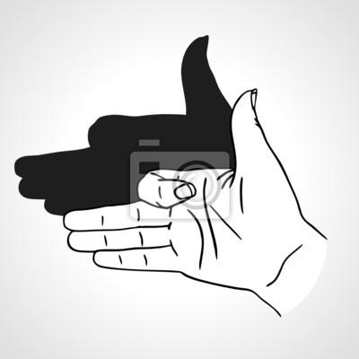 Vector Hand Geste wie Hund Gesicht mit Schatten
