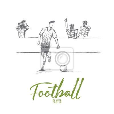 Vector Hand Gezeichnet Fussballspieler Konzept Skizze