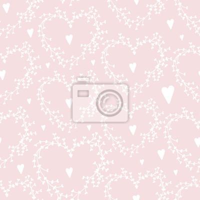 Vector Hand gezeichnet nahtlose Muster mit Kränzen und Herzen, gut für Valentinstag-Karten, Hochzeitseinladungen, etc.