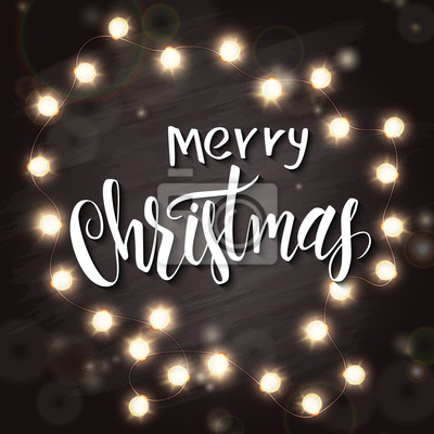 Frohe Weihnachten Schriftzug Beleuchtet.Fototapete Vector Hand Gezeichnet Schriftzug Frohe Weihnachten Mit Glänzenden