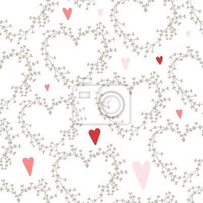 Vector Hand gezeichneten Muster mit Kränzen und roten Herzen,