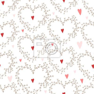 Vector Hand gezeichneten Muster mit Kränzen und roten Herzen, Gut für Valentinstag-Karten, Hochzeitseinladungen, etc.