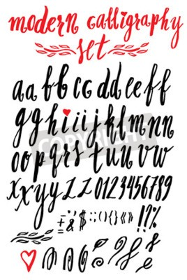 Vector Handgemachte Moderne Kalligraphie Roman Alphabet Skript