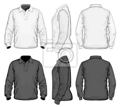 Vector. herren polo-shirt design-vorlage. lange ärmel. kein gitter ...