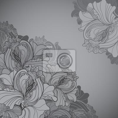 Vector Hintergrund mit Ornament der Graustufen-Grafik Blumen