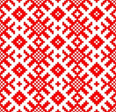 Fototapete Vector Hintergrund. Nahtlose Muster Slawische Stickerei. Yarilo motive - Vektorgrafik