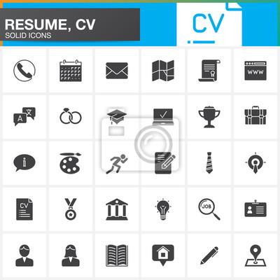 Vector icons für resume oder cv eingestellt. moderne solide symbol ...