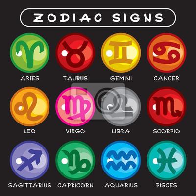 Vector icons von zodiac signs. helle runde form farbige sternzeichen ...