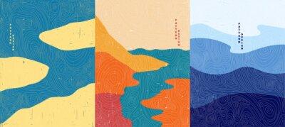 Fototapete Vector illustration. Abstract landscape background. Hand drawn pattern design. Geometric template. Ornamental  poster concept. Vintage art. 70s, 80s retro graphic. Ocean, islands, seascape