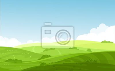 Fototapete Vector Illustration der schönen Feldlandschaft mit einer Dämmerung, grüne Hügel, blauer Himmel der hellen Farbe, Hintergrund in der flachen Karikaturart.