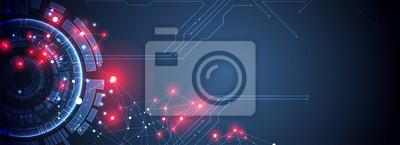 Fototapete Vector illustration, Hi-tech digital technology and engineering theme