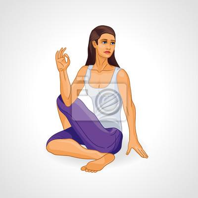Vector Illustration: Mädchen in Yoga-Pose, Ardha Matsiendrasana