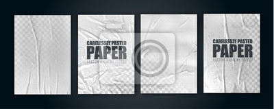 Fototapete vector illustration object. badly glued white paper. crumpled poster