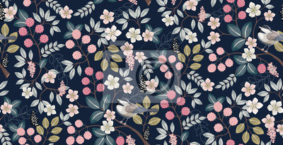 Fototapete  Vector illustration of a seamless floral pattern with cute birds in spring for Wedding, anniversary, birthday and party. Design for banner, poster, card, invitation and scrapbook